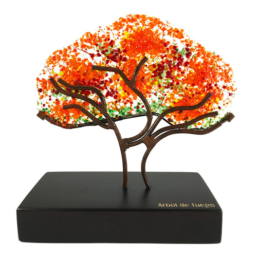 Flame tree, medium-sized, handmade collectible glass figure