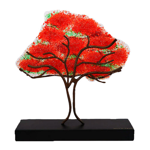 Flame tree, handmade collectible glass figure