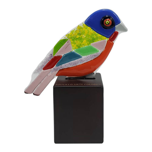 """Azulillo Siete Colores"" (Painted Bunting) - Glass Art Decorative Figure"