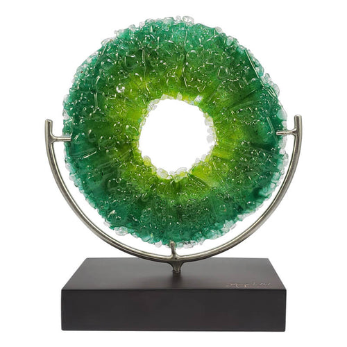"""Descubriendo mi mundo"" (Discovering My World) - Green, Handmade Glass Art Decorative Figure"