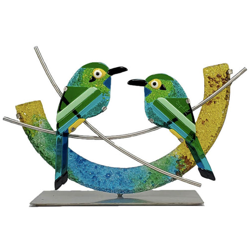 Pair of Motmots - Handmade Decorative Glass Art Figurines
