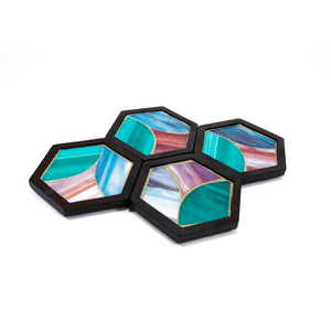 2020 patterned pattern hexagon coasters glass