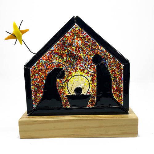 Nativity set handcrafted in molten glass