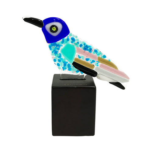 Violet Headed Hummingbird, fused glass figurine