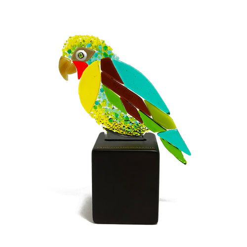 Orange Chinned Parakeet, fused glass decorative handmade figurine