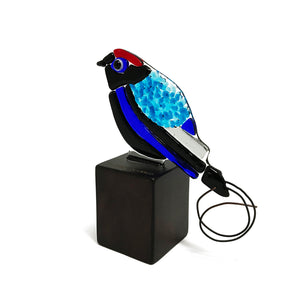 Long-tail Manakin, glass bird figurine