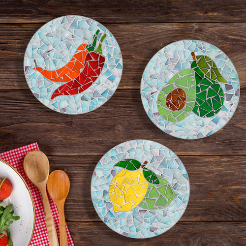 DIY Pot Coaster Mosaic Kit - Veggie Design