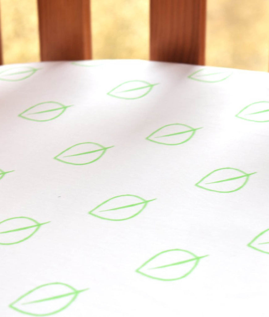 LittleLeaf Organic Fitted Cot Bed Sheet - Leaf Print