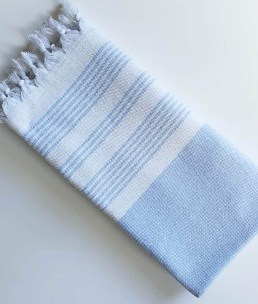 Cotton & Olive Meridien Hammam Bath Towel - Light Blue