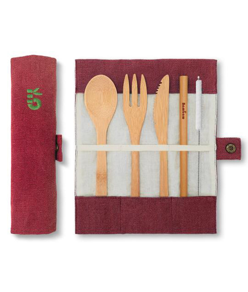 Bambaw Bamboo Cutlery Set - Berry