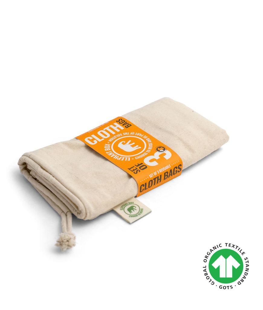 Elephant Box Organic Cotton Produce Bag - x3 Mixed Pack