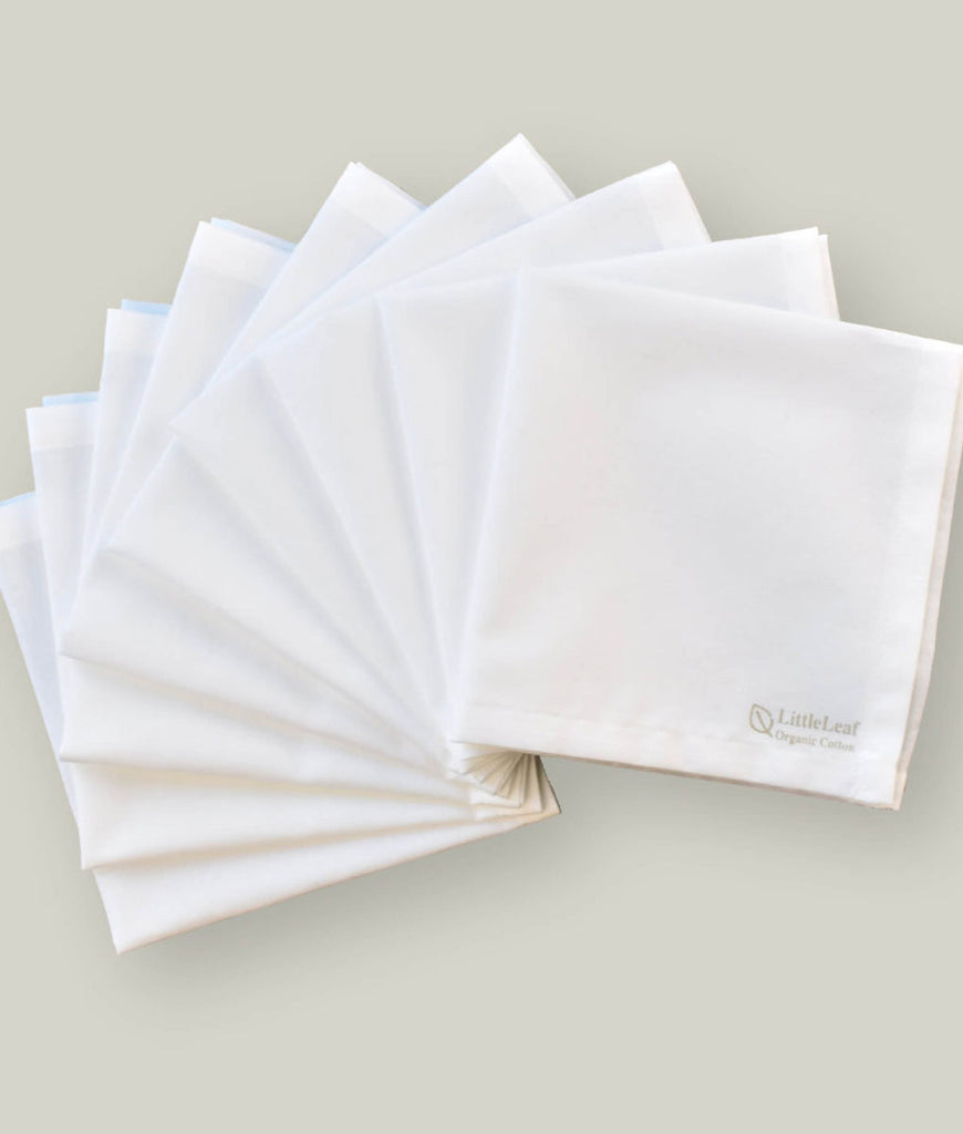 LittleLeaf Organic Handkerchiefs White - x9 Pack