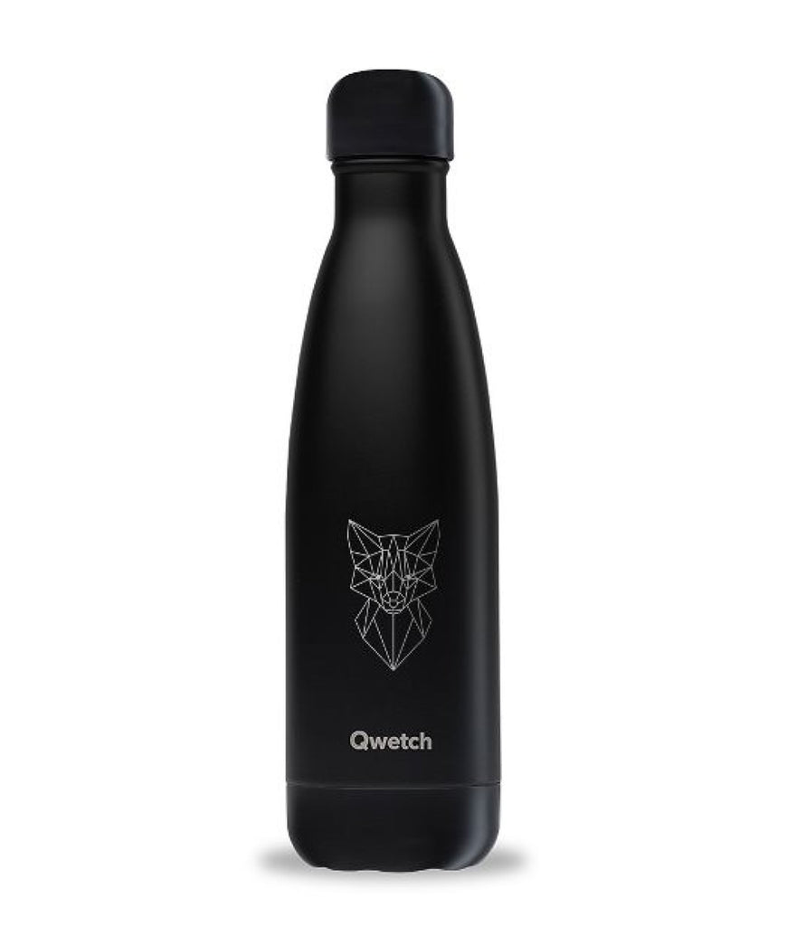 Qwetch Stainless Steel Water Bottle All Black Fox - 500ml