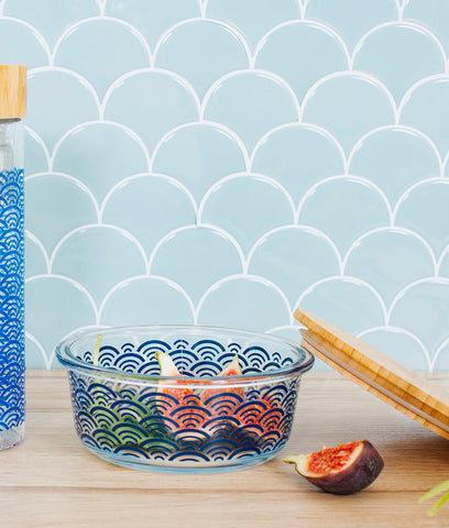 Sass & Belle Blue Wave Glass Container With Bamboo Lid