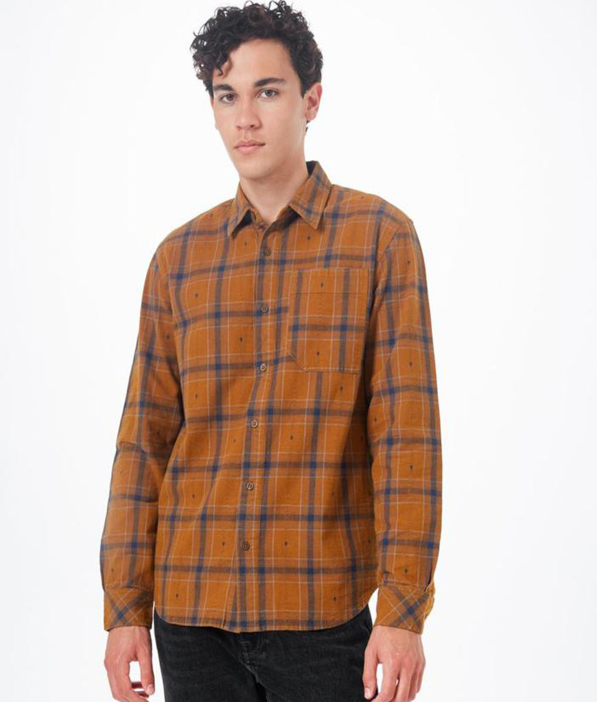 Tentree Benson Flannel Shirt - Rubber Brown Tree Plaid