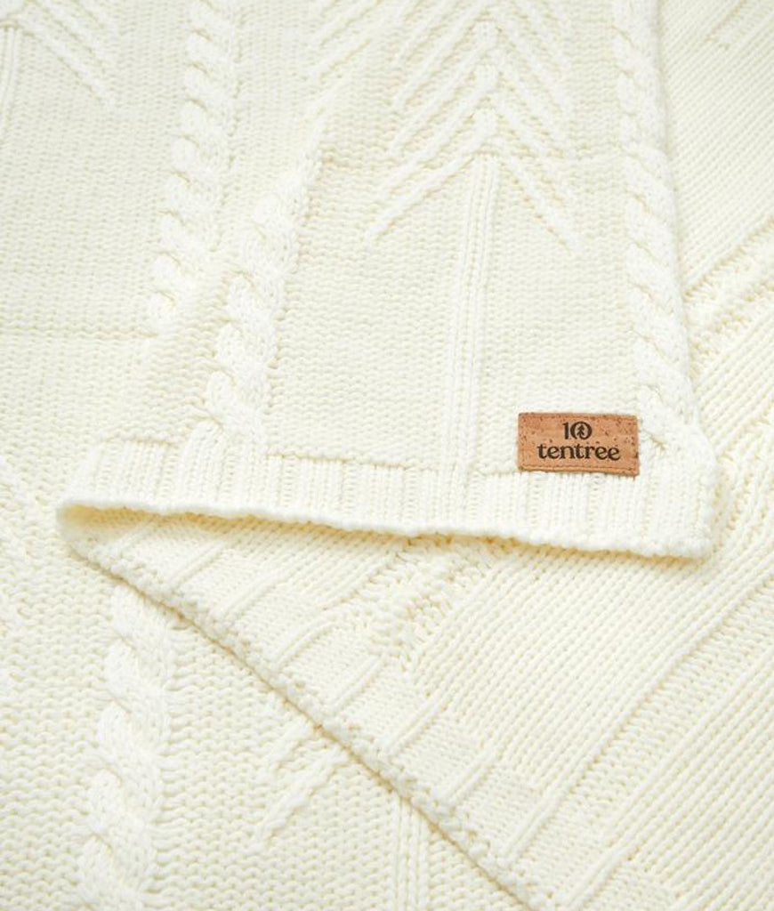 Tentree Cotton Cable Blanket - Elm White