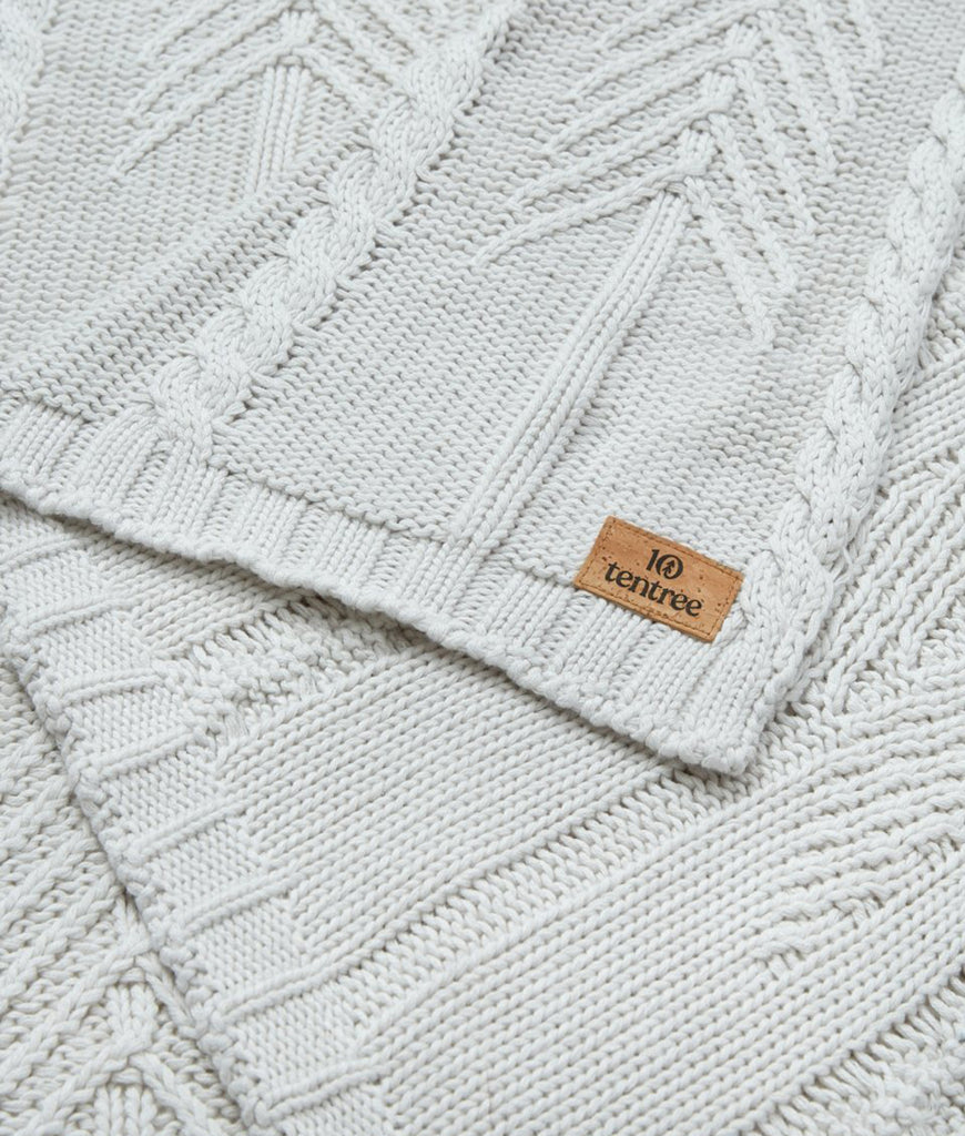Tentree Cotton Cable Blanket - Hi Rise Grey