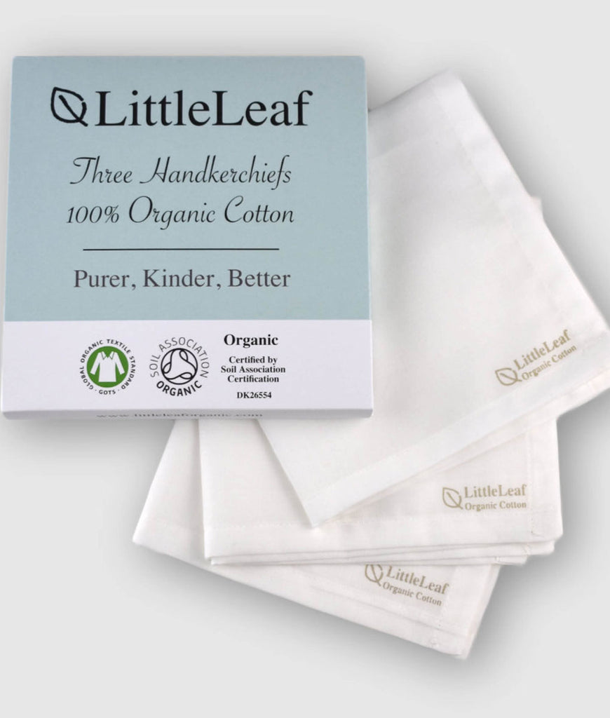 LittleLeaf Organic Handkerchiefs White - x3 Pack