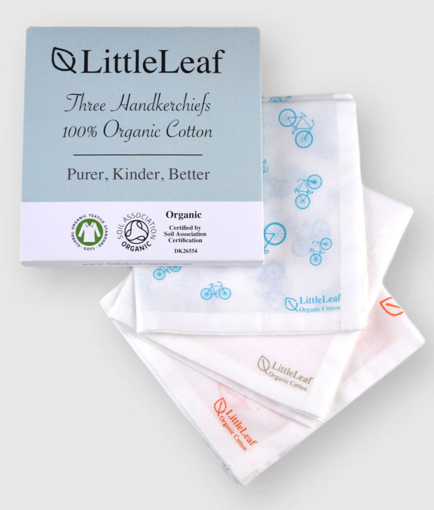 LittleLeaf Organic Handkerchiefs Mixed Prints - x3 Pack