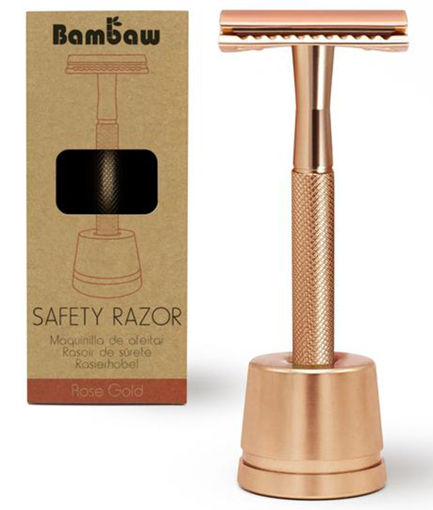 Bambaw Rose Gold Safety Razor With Stand