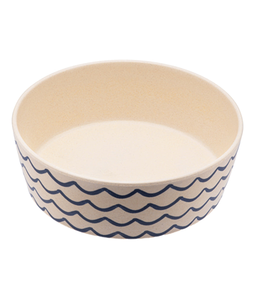 Beco Bamboo Large Dog Bowl - Ocean Waves