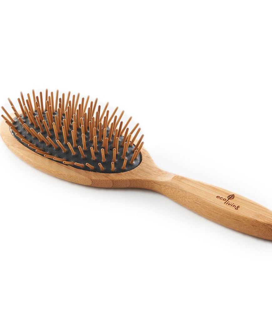 Eco Living Bamboo Hairbrush Black With Wooden Pins