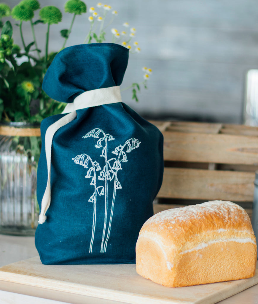 Helen Round Pure Linen Bread Bag - Bluebell