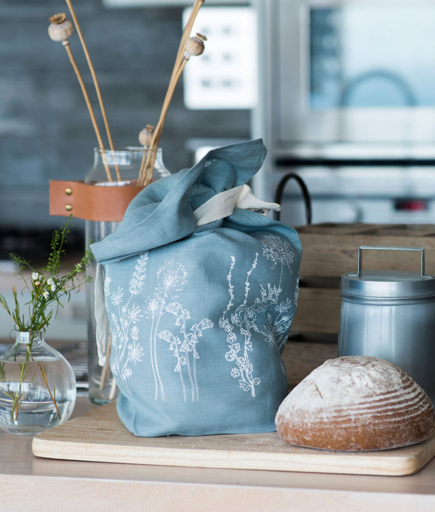 Helen Round Pure Linen Bread Bag - Duck Egg Blue
