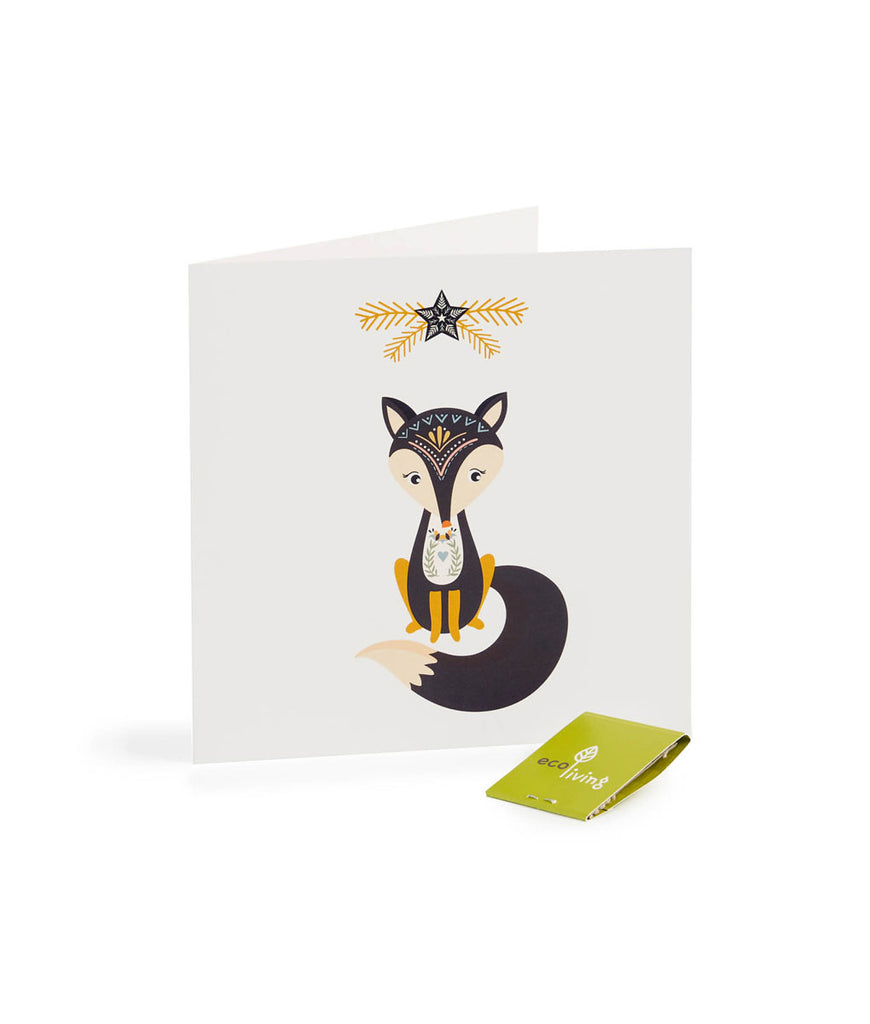 Eco Living Recycled Scandinavian Folk Christmas Card - Fox