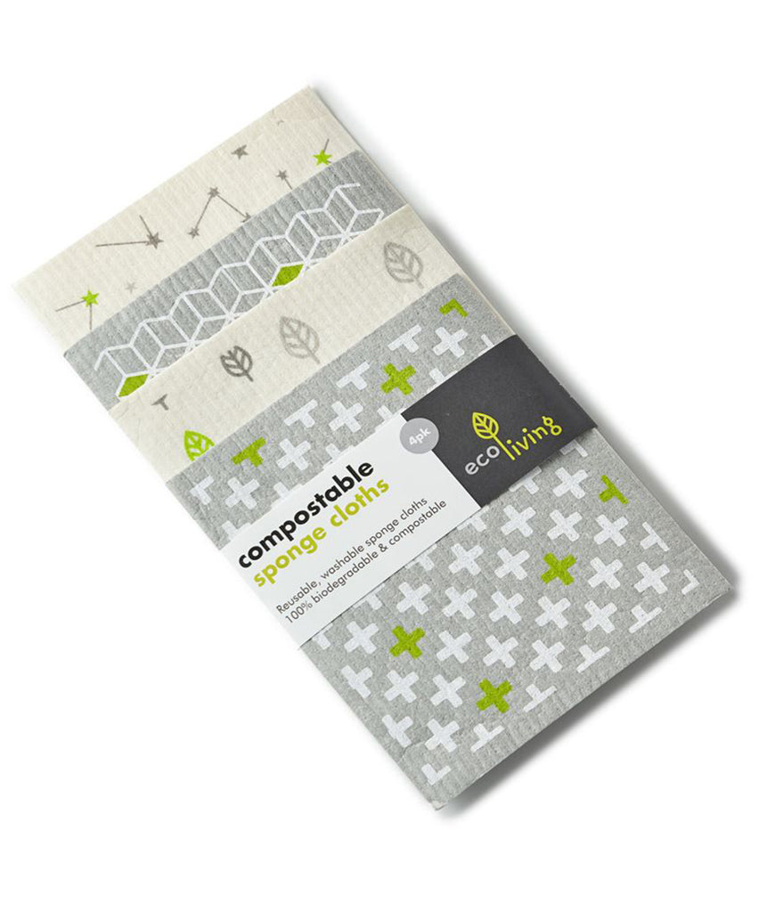 Eco Living Compostable Sponge Cleaning Cloths - x4 Pack