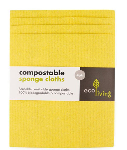 Eco Living Compostable Sponge Cleaning Cloths Yellow - x4 Pack