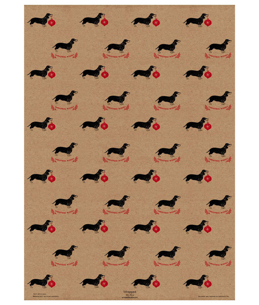 Wrapped By Alice Christmas Wrapping Paper x1 Sheet - Sausage Dog