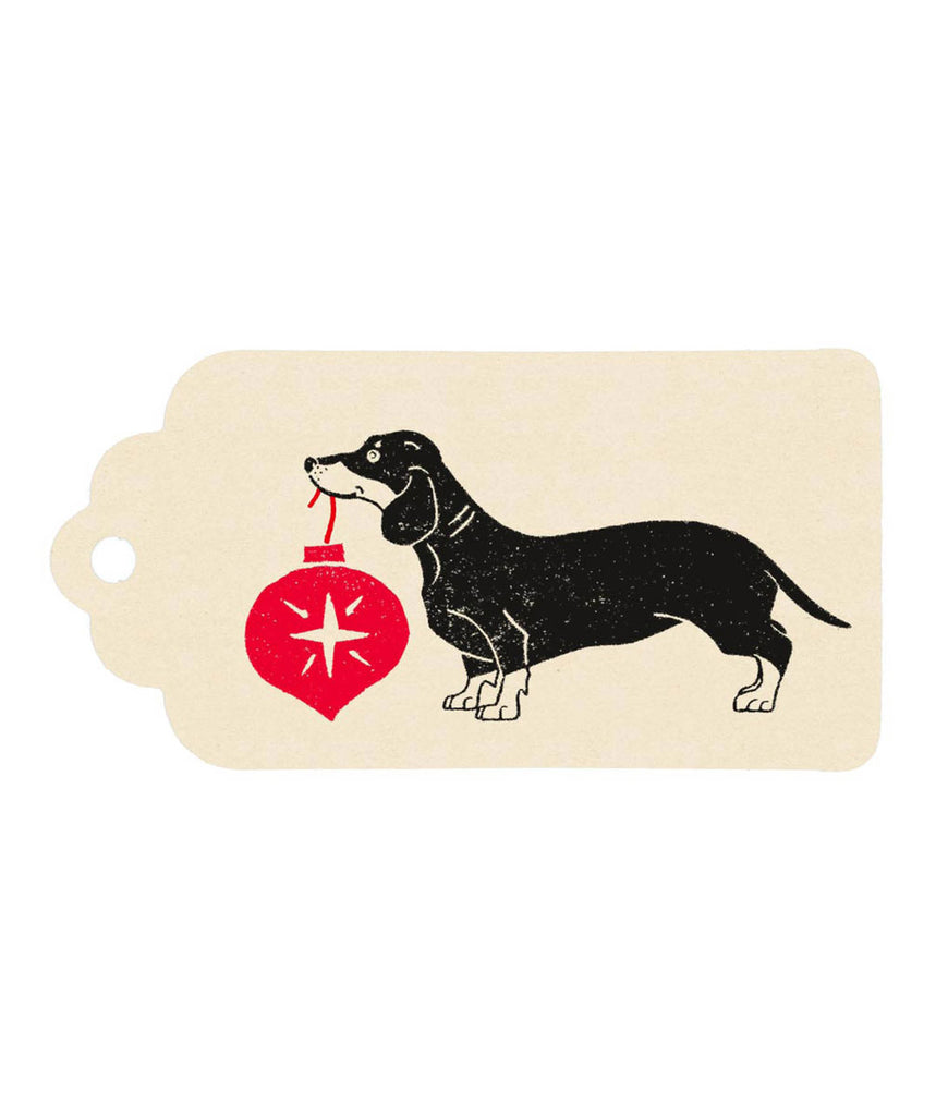 Wrapped By Alice Christmas Gift Tag - Sausage Dog Cream