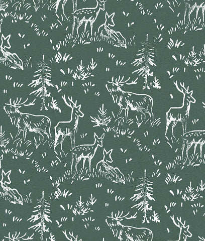 Wrapped By Alice Christmas Wrapping Paper x1 Sheet - Green Deer