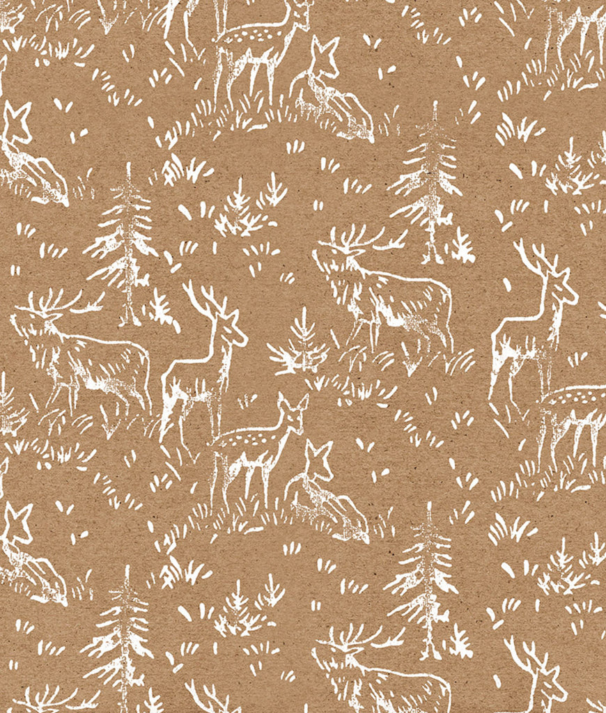 Wrapped By Alice Christmas Wrapping Paper x1 Sheet - Natural Deer