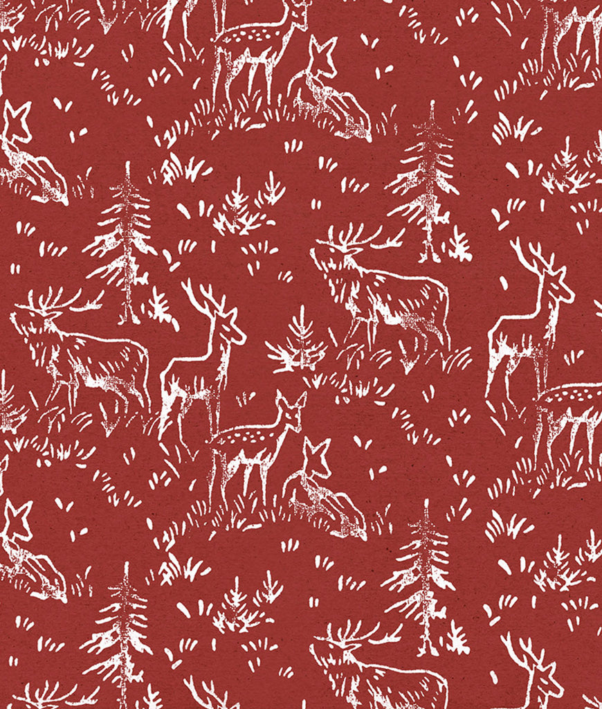 Wrapped By Alice Christmas Wrapping Paper x1 Sheet - Red Deer