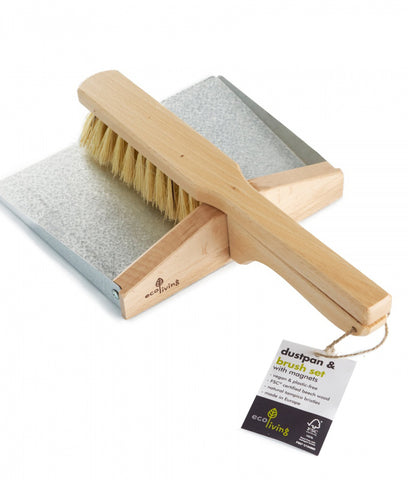 Eco Living Dust Pan & Brush Set With Magnets