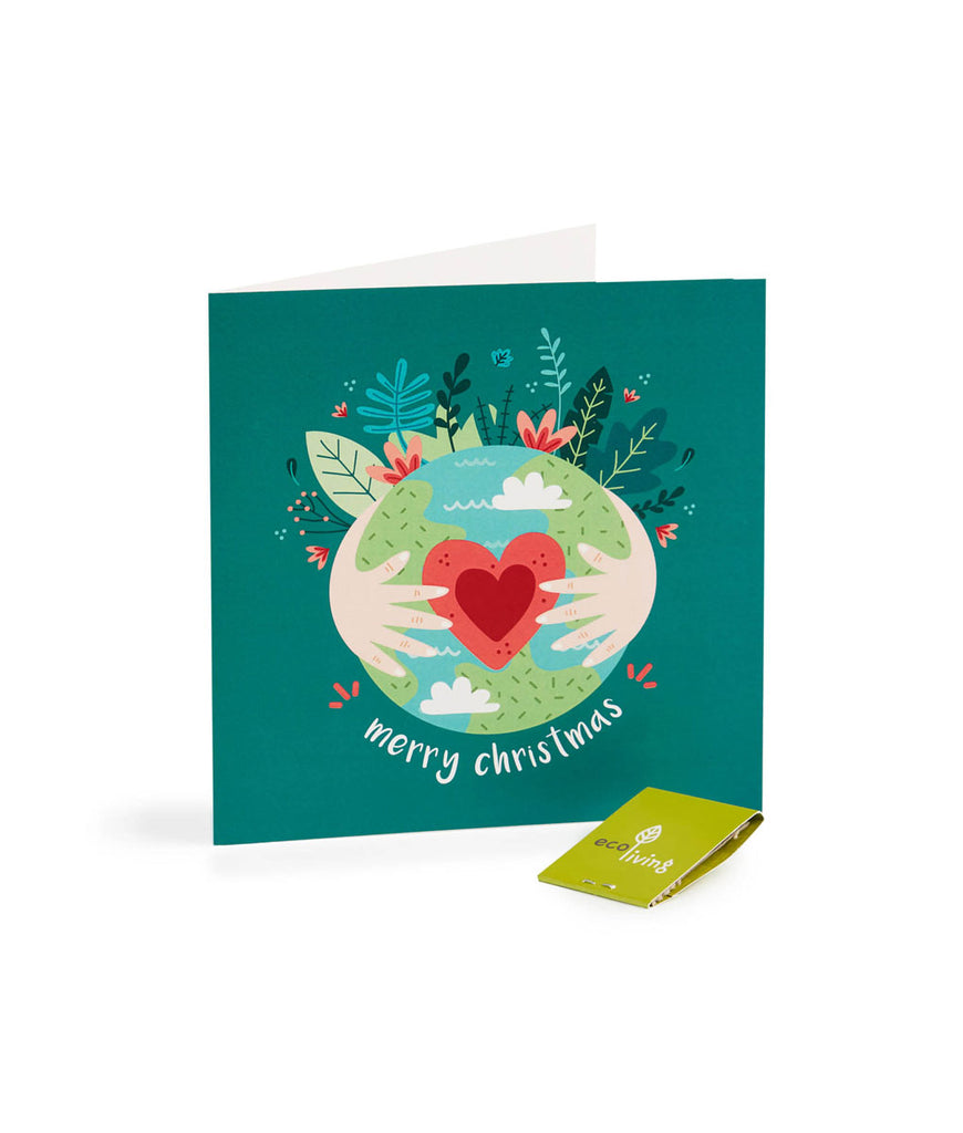 Eco Living Recycled Eco Earth Christmas Card - Dark Green