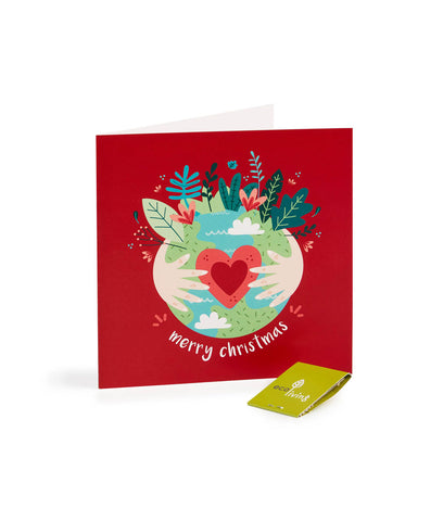 Eco Living Recycled Eco Earth Christmas Card - Red