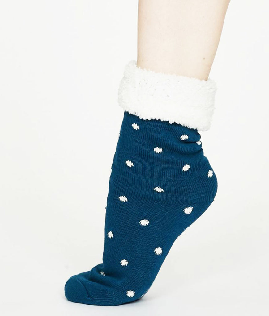 Thought Clothing Elizabeth Organic Cotton Cabin Socks - Teal Blue