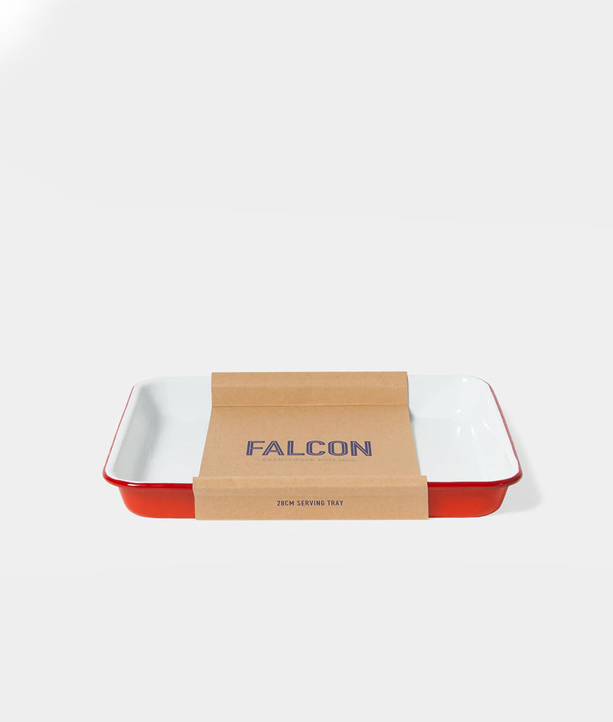 Falcon Enamelware Serving Tray - Pillarbox Red