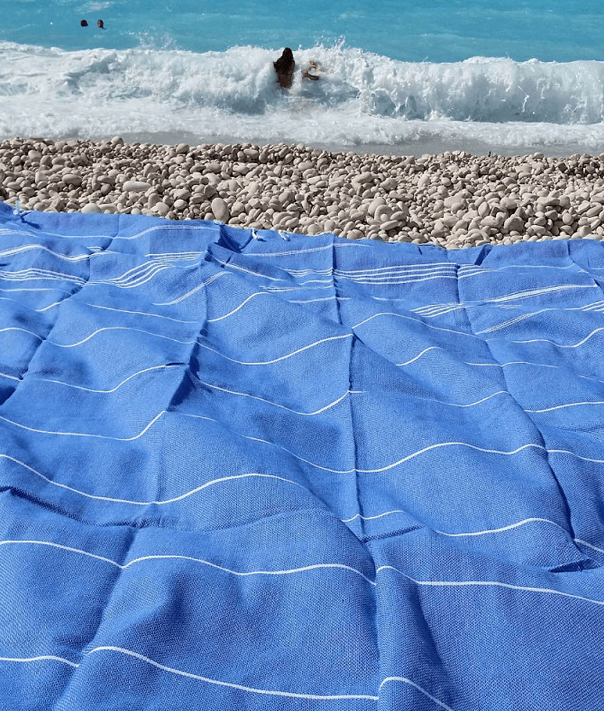 Cotton & Olive XL Hammam Beach Blanket - Light Blue