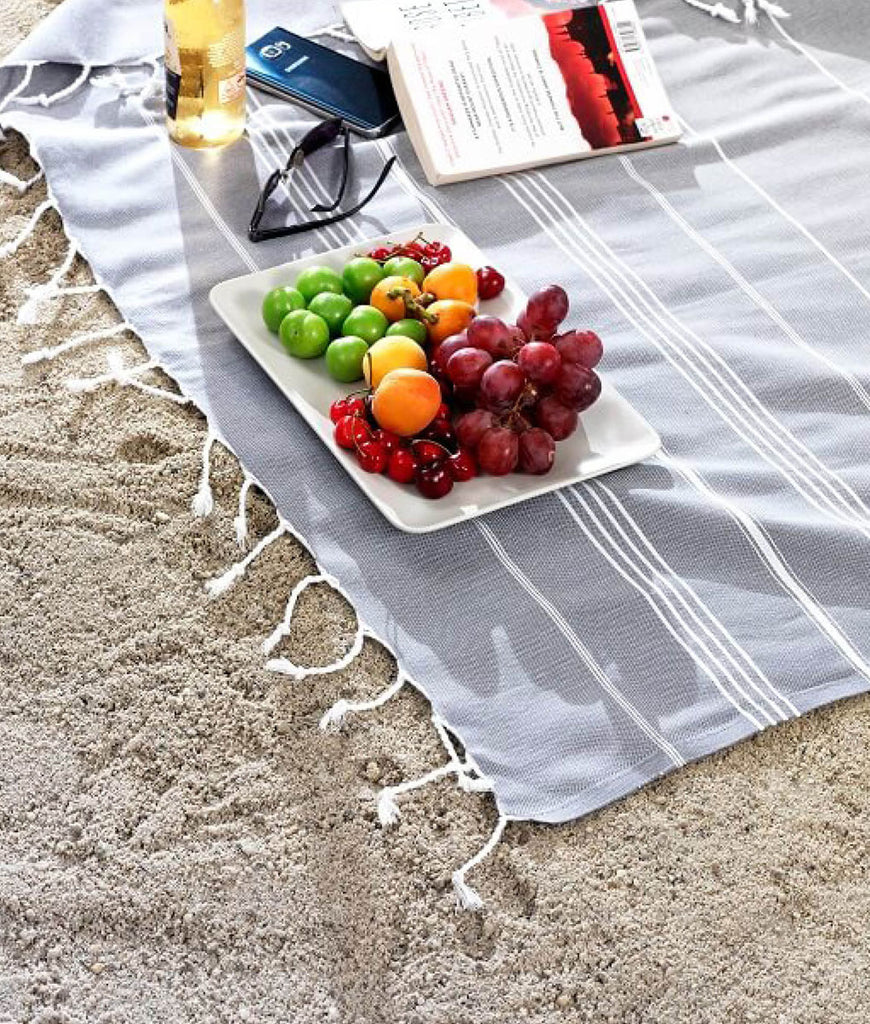 Cotton & Olive XL Hammam Beach Blanket - Smoke Grey