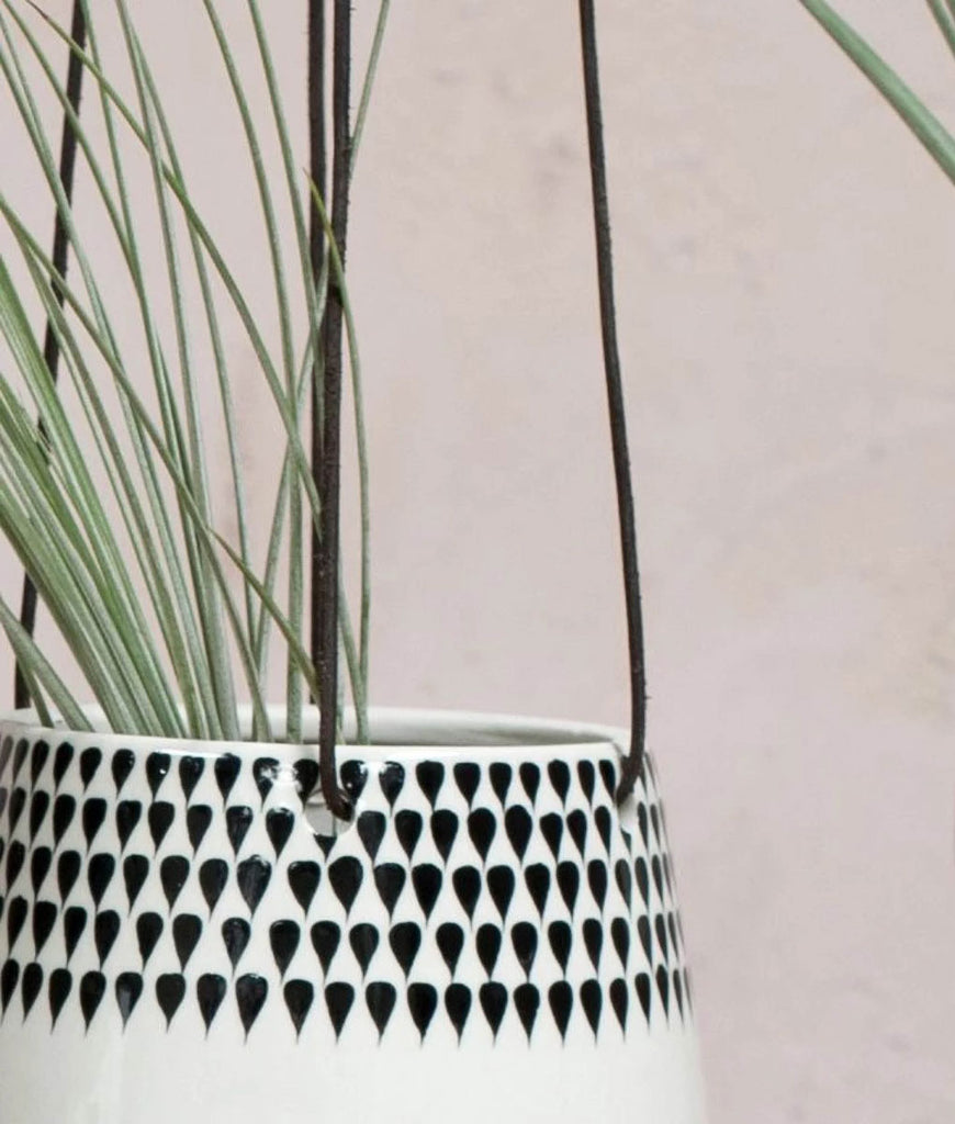 Nkuku Matamba Ceramic Hanging Planter Small - Droplets