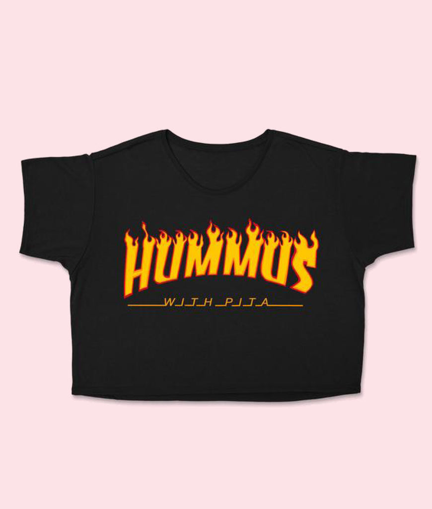 SassySpud HUMMUS WITH PITTA Embroidered Crop Top - Black