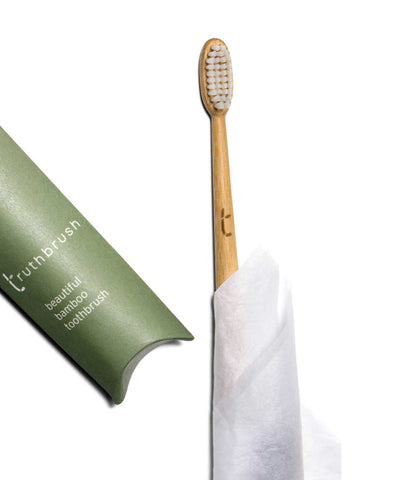 Truthbrush Bamboo Toothbrush with Plant Based Medium Bristles - White