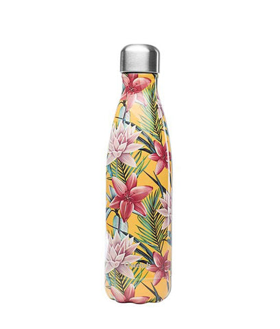 Qwetch Stainless Steel Water Bottle Tropical Yellow Flowers - 500ml
