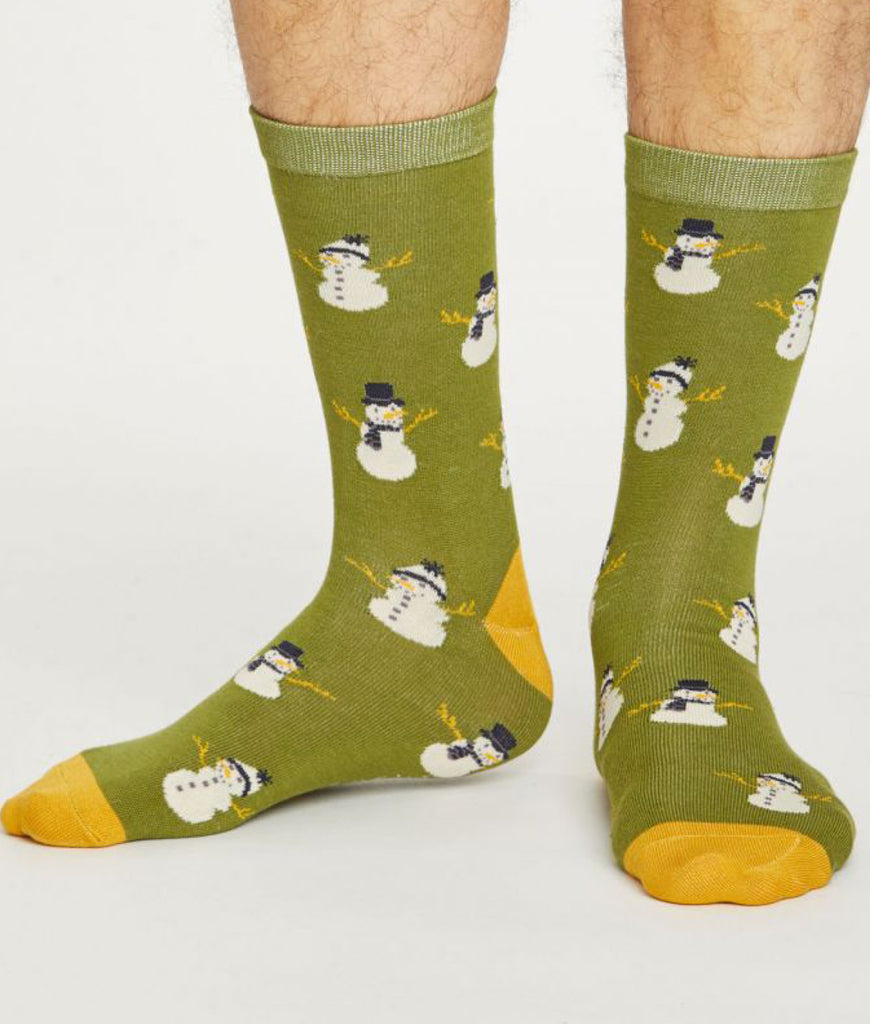 Thought Clothing Men's Snowmen Ethical Socks - Green