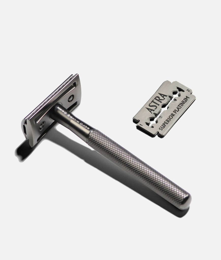 Zero Waste Club Metal Grey Stainless Steel Razor + 10 Blades