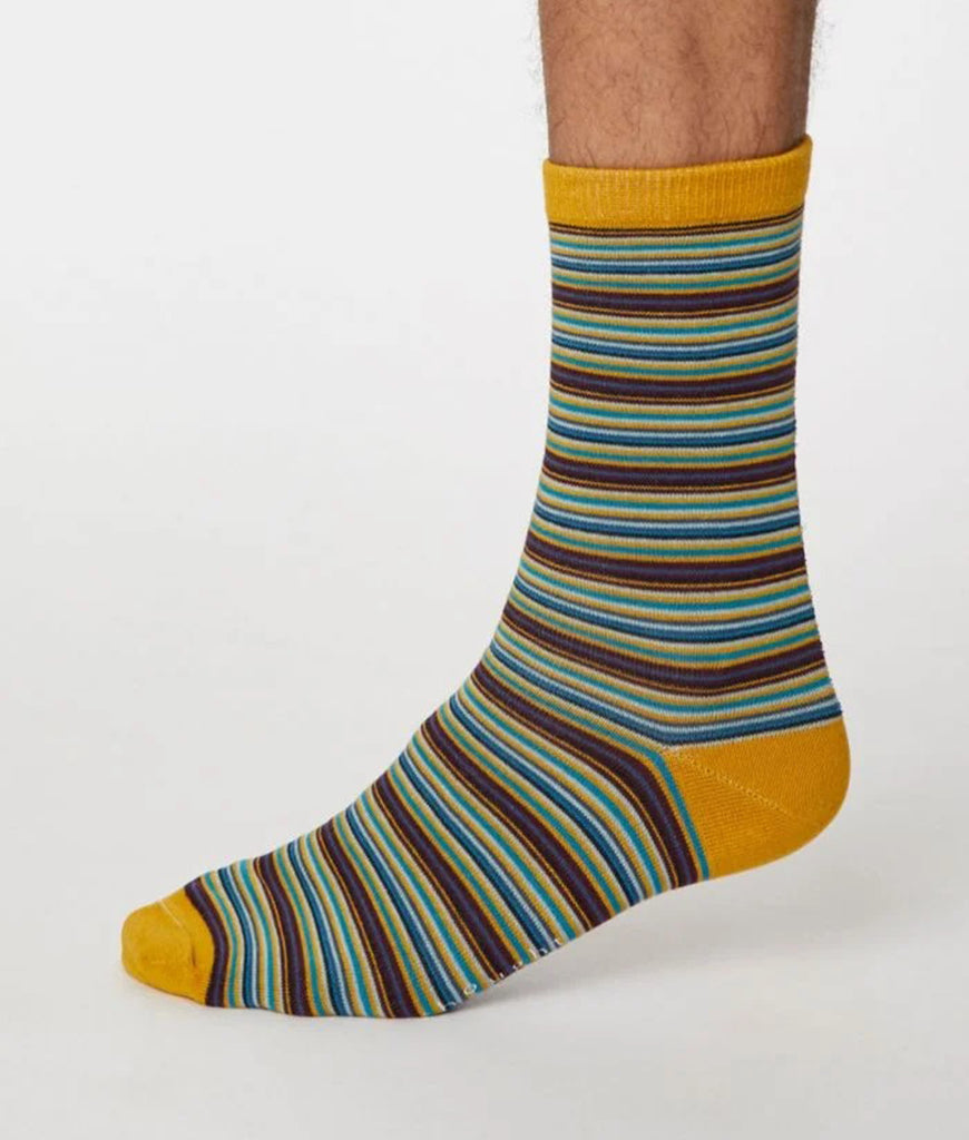 Thought Clothing Michele Bamboo Striped Socks - Mustard Yellow